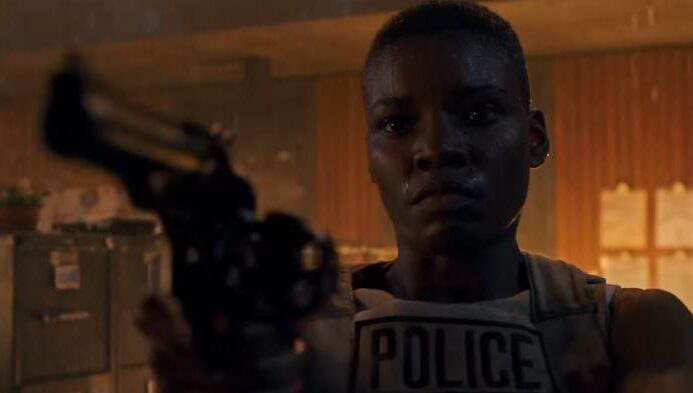 """Alexis Louder is Valerie Young, a hard-nosed rookie cop in a sea of criminals in """"Copshop."""" (Courtesy of Open Road Films)"""
