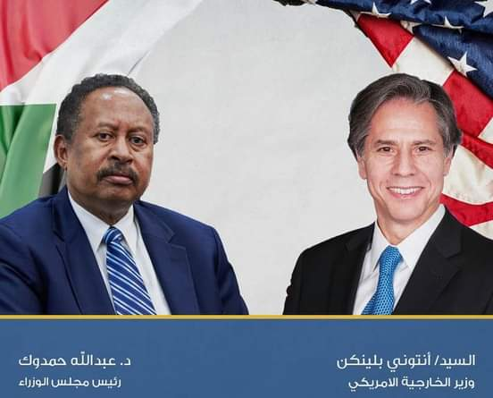 د. عبد الله حمدوك يجري مكالمة هاتفية مع وزير الخارجية الأمريكي