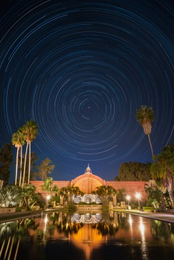 Star trails over the Botanical Building, Balboa Park, San Diego.