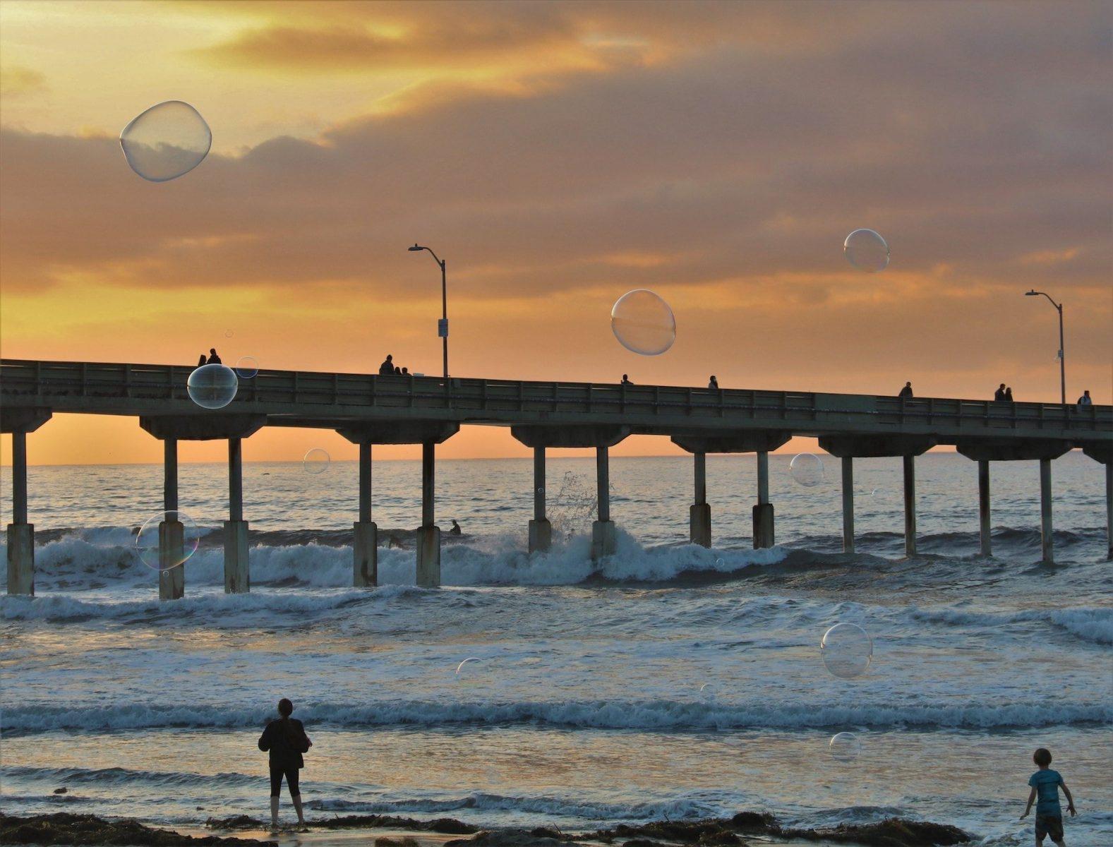Barbara Whitman - Ocean Beach Pier Twilight Balloon Chase