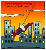 The very first (unconvincing) version of Spider-Man