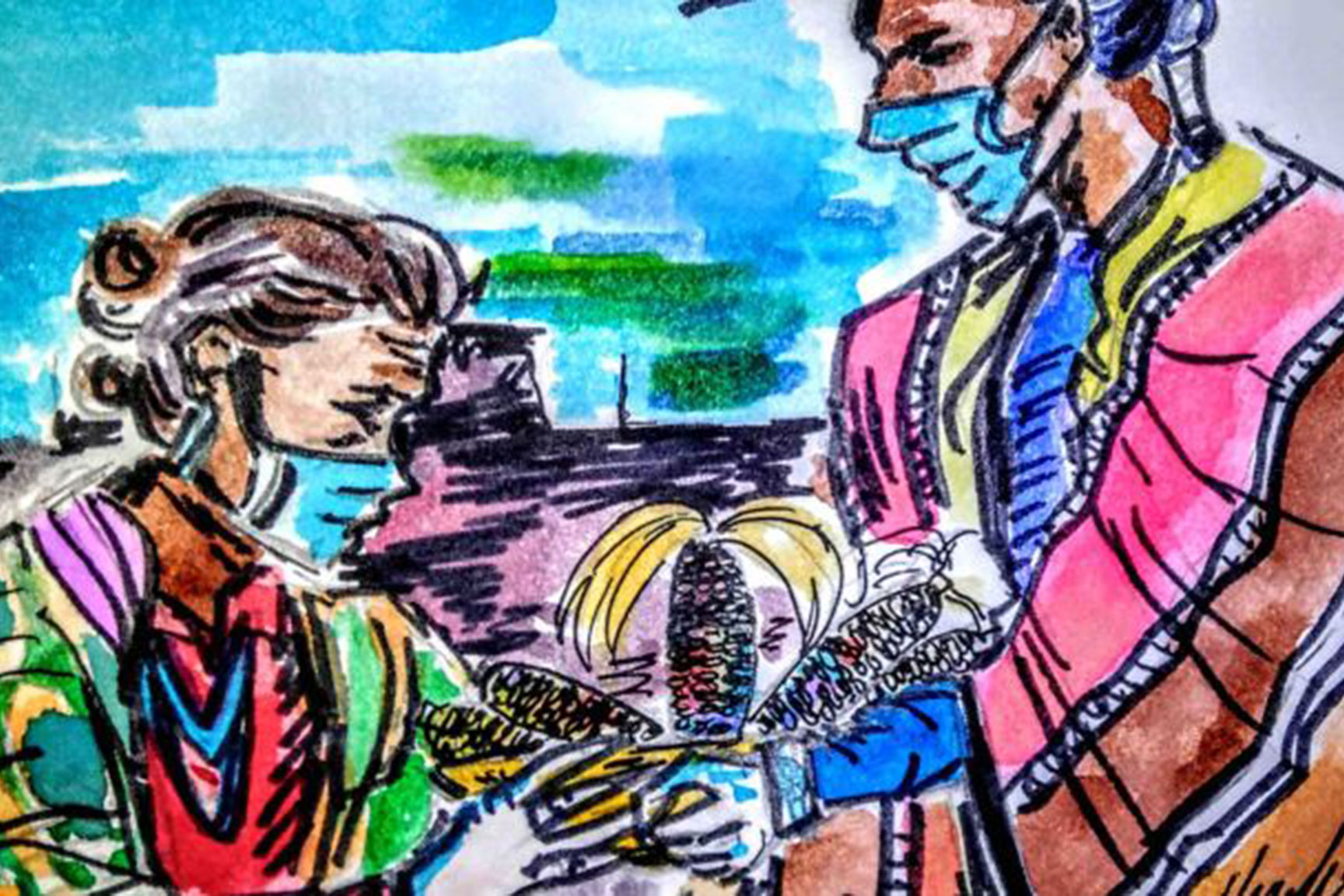 illustration of native american man and woman wearing face masks and offering gifts of charity
