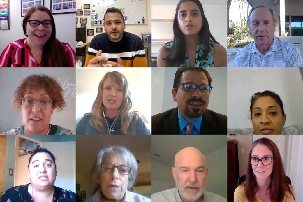 San Diego Senior Center Coalition participants on Zoom