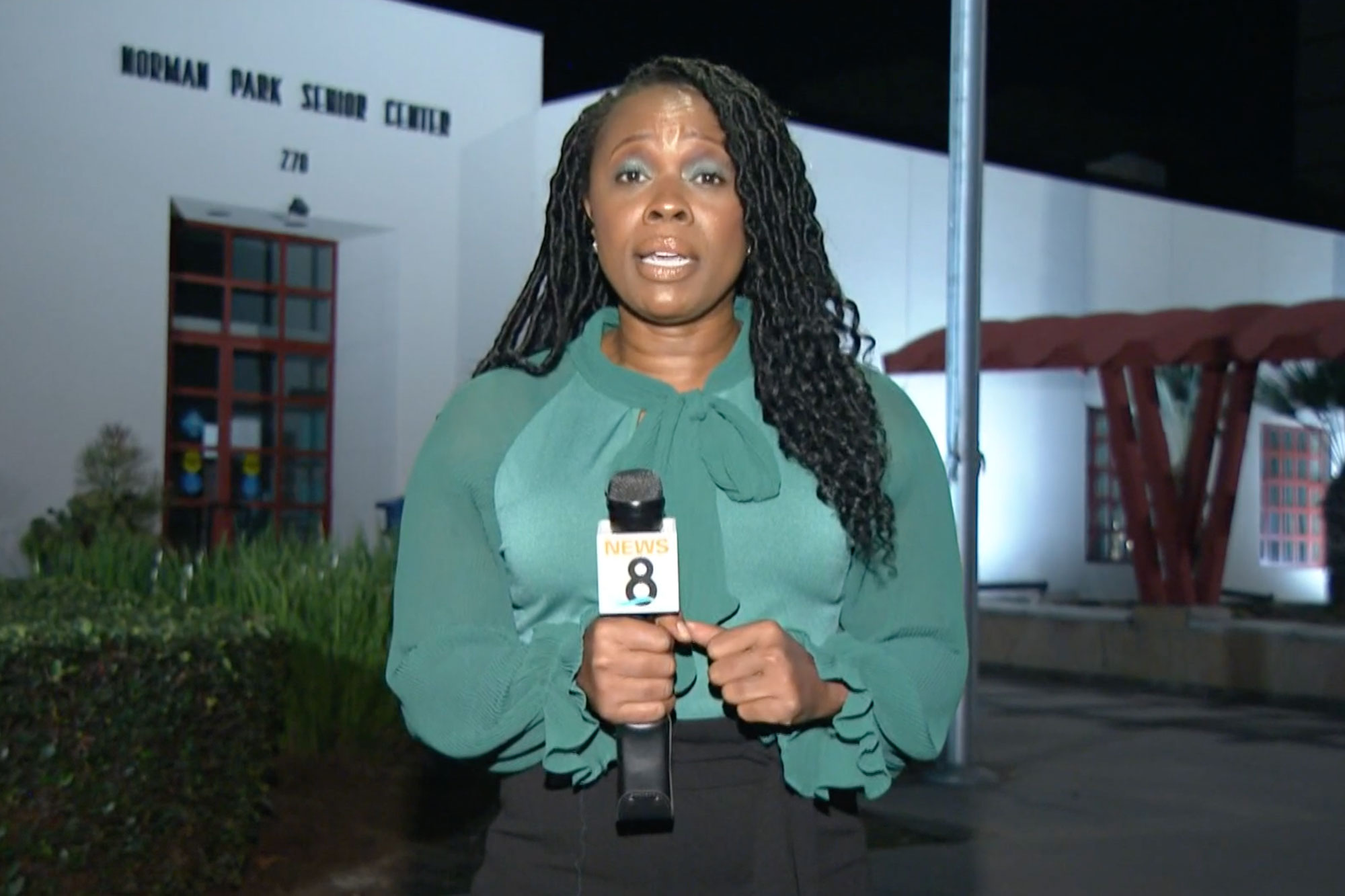LaMonica Peters stands in front of the Norman Park Senior Center in Chula Vista