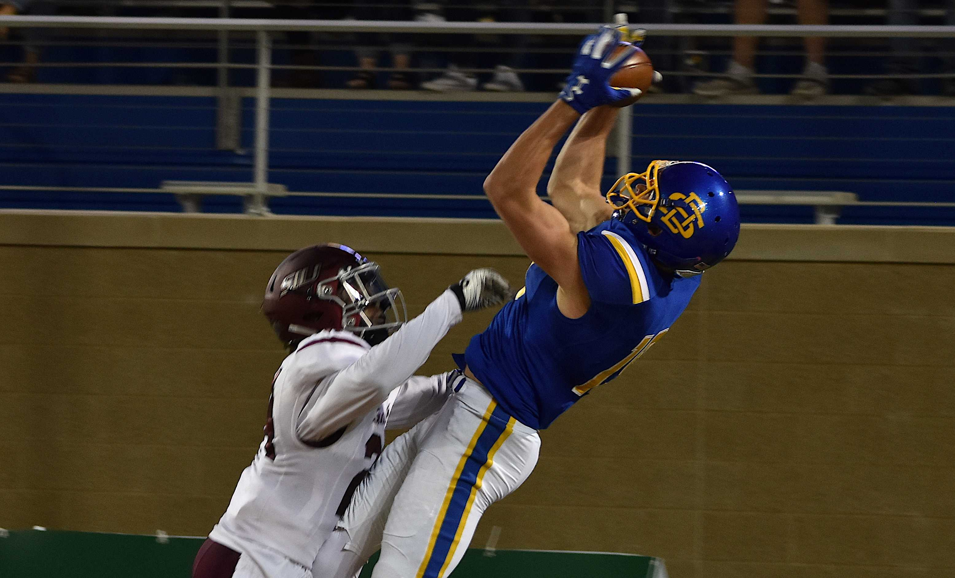 ABBY FULLENKAMP Senior wide receiver Jake Wieneke catches a touchdown pass during a 49-14 win over Southern Illinois. The Jacks host Northern Iowa in the Hobo Day game Saturday.