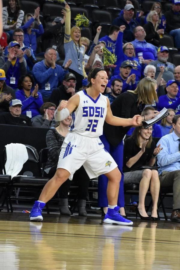 ABBY+FULLENKAMP+Junior+forward+guard+Sydney+Palmer+%2832%29+celebrates+a+basket+by+Ellie+Thompson+%2845%29+during+the+second+half+of+the+game+against+NDSU+March+3.+The+Jacks+beat+the+Bison+87-62.+The+women+will+play+March+5+in+the+semifinals.+