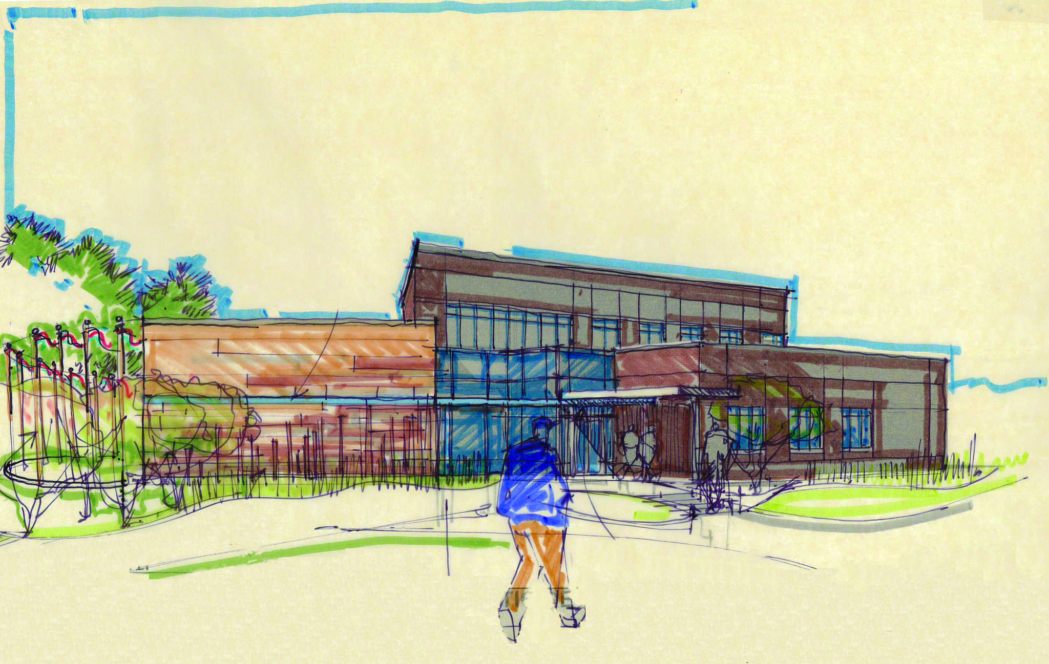 SUBMITTED A preliminary sketch of the new American Indian Student Center being constructed on Rotunda Green.