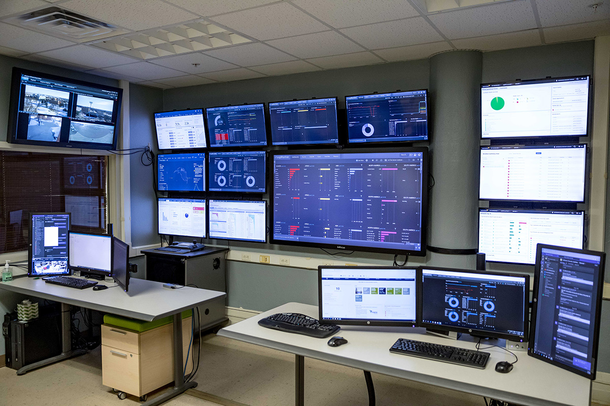 SUBMITTED A look at the many monitors in the security operations center at South Dakota State University.