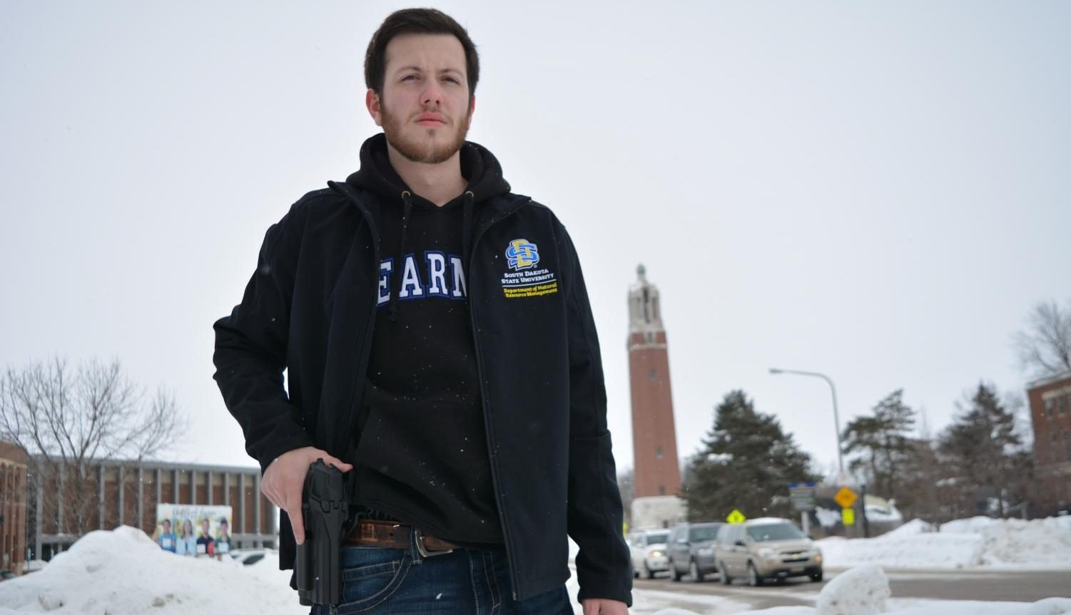 Sophomore Ben Bullinger wants concealed carry for campus.  DISCLAIMER: THIS PHOTO WAS TAKEN OUTSIDE THE PERIMETER OF CAMPUS.