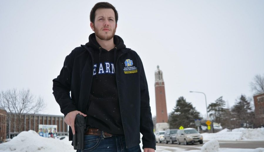 Sophomore+Ben+Bullinger+wants+concealed+carry+for+campus.+%0ADISCLAIMER%3A+THIS+PHOTO+WAS+TAKEN+OUTSIDE+THE+PERIMETER+OF+CAMPUS.