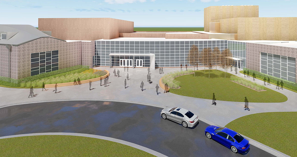 The new and expanded performing arts facility, shown here in an architectural rendering, at South Dakota State University has been named The Oscar Larson Performing Arts Center.