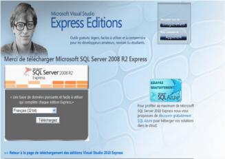 La page de téléchargement de SQL Server