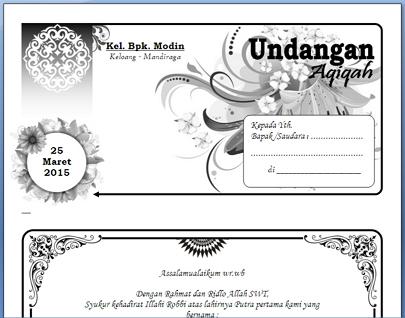 Undangan Aqiqah Biasa Word 2007 Dian Permana Blog