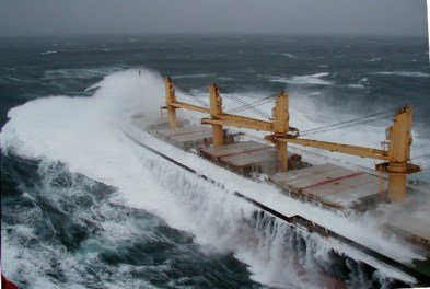 Ranger, a modern-cargo ship, crossing the Columbia Bar in winter. (photo by Captain R. Johnson)