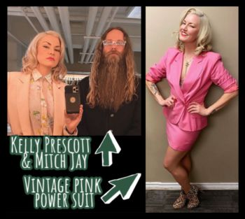 Kelly Prescott with Mitch Jay and her pink vintage power suit