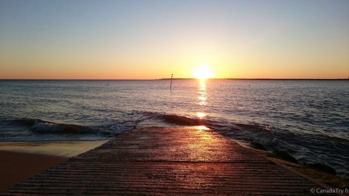 coucher de soleil à pyla sur mer