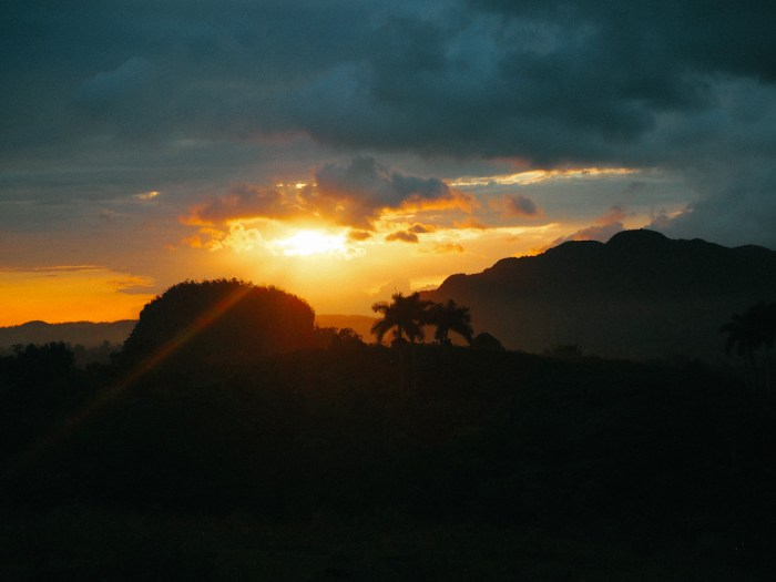 sunset over vinales cuba
