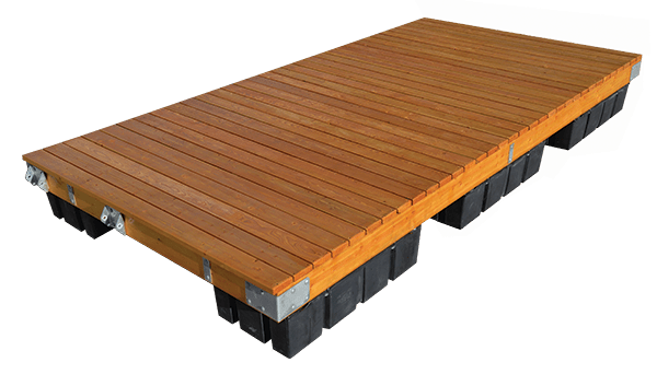 stained timber frame dock