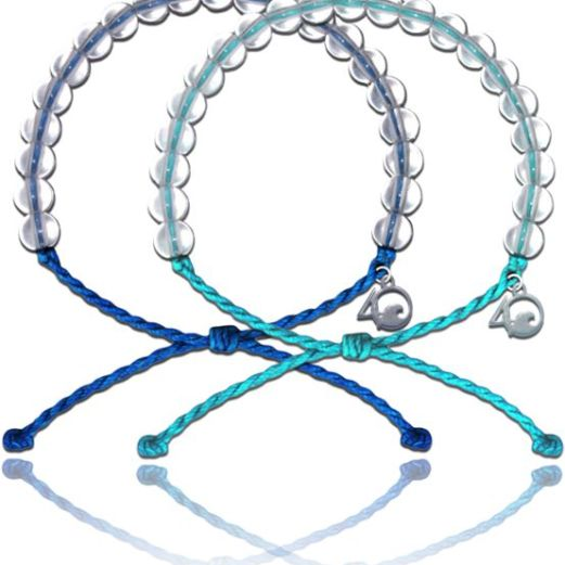 Blue and turquoise 4Ocean bracelets with recycled beads are positioned together on a white background.