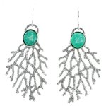 Sea Fan earrings made from recycled ocean plastic.