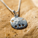 Shop: A Devocean necklace of a silver sand dollar on a chain