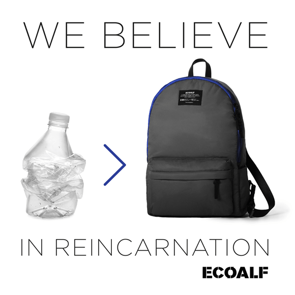 A plastic bottle and the ecoalf bag it is recycled into.