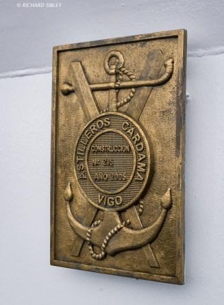 Plaque of the shipyard that built the Coast Guard Vessel Sebastián de Ocampo