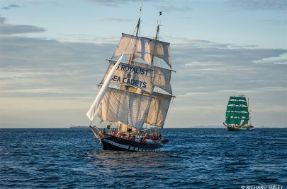 Brig TS Royalist. Great Britain and Barque Alexander von Humboldt. Germany