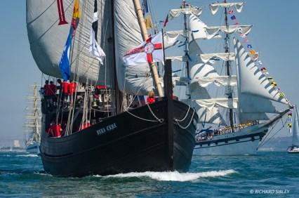 Caravele Vera Cruise, Portugal. Background vessel Venezuelan barque, Simon Bolivar