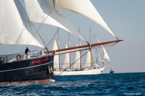 Schooner Santa Maria Manuela leads the class A line from Dutch Schooner Wylde Swan at the race start