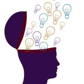 Head with lightbulbs flying in. Consumer decision making process Seafoam Media