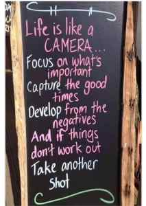 """Display Board """"Life is like a camera"""" Quote Seafoam Media St Louis"""