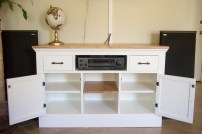 Media Console with Doors Open