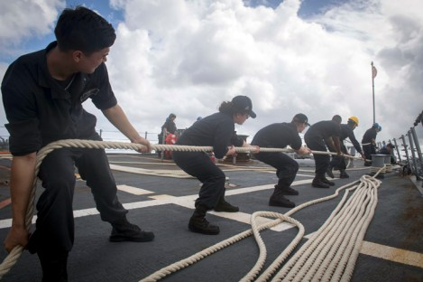APRA HARBOR, Guam (March 1, 2017) Sailors assigned to the Arleigh Burke-class guided-missile destroyer USS Stethem (DDG 63) perform line-handling as the ship pulls into Apra Harbor for a routine port visit. Stethem is on patrol in the waters off the coast of Guam supporting security and stability in the Indo-Asia-Pacific region. (U.S. Navy photo by Mass Communication Specialist 2nd Class Ryan Harper/ Released)