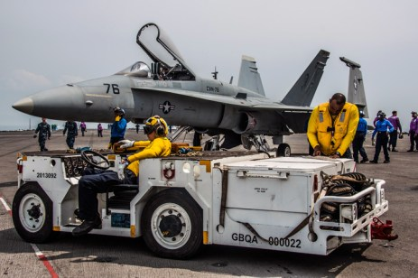 170507-N-PF593-100 WATERS EAST OF JAPAN, Japan (May 7, 2017) Sailors prepare to conduct aircraft fire-fighting drills on the flight deck of the Navy's forward-deployed aircraft carrier, USS Ronald Reagan (CVN 76). Ronald Reagan is conducting sea trials, a series of drills and evaluations, to verify the ship's readiness for its upcoming patrol. Ronald Reagan, the flagship of Carrier Strike Group 5, provides a combat-ready force that protects and defends the collective maritime interests of its allies and partners in the Indo-Asia-Pacific region. (U.S. Navy photo by Mass Communications Specialist 2nd Class Jamal McNeill/Released)