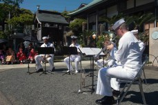 SHIMODA, Japan (May 18, 2017) – The 7th Fleet Band performs at Gyokusenji Temple as part of the Shimoda Black Ship Festival. The Navy's participation in the festival celebrates the heritage of U.S.-Japanese naval partnership first established by commodore Matthew Perry's 1853 port visit. For more than 160 years, the United States has established a heritage of naval presence in the Indo-Asia-Pacific region to promote partnership, prosperity, and maritime security. (U.S. Navy photo by Mass Communication Specialist 2nd Class Christian Senyk/Released)