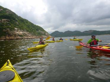 Groups sharing sea kayaking experience in Hong Kong