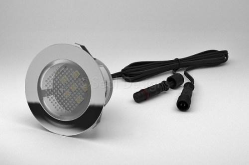 1 x 45mm LED Light Fitting & Stainless Steel Round Bezel