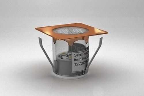 1 x 30mm LED Light Fitting Copper Square Bezel