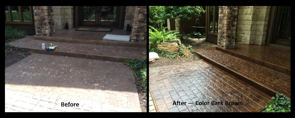 my stamped colored concrete look