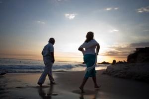 Image of couple walking into sunset on beach