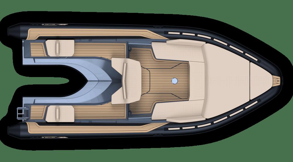 Sealver Premium waveboat ZLINE Z8 HEVO MEDIUM, premium tender, fun tender, jet boat, bateau jetski, annexe, annexe fun, boat, bateau, tender yacht, annexe yacht, design, sportif, sun beds, sun bath, bains de soleil, wave boat, intérieur, interior, carré arrière, plan de pont, vue de haut, compatible jetski Kawasaki, compatible jetski Yamaha, compatible jetski Seadoo, extension seadoo, extension Yamaha, extension Kawasaki