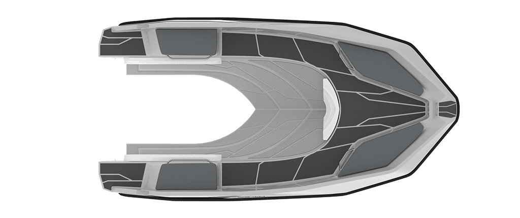 Sealver, waveboat, wave boat, wb 444, 4m, jetboat, bateau jetski, vue de haut, plan de pont, upper view, deck view, polyester, coque, chantier naval français, french shipyard