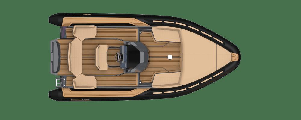 Sealver Premium waveboat ZLINE Z7 HYBRIS MEDIUM, premium tender, fun tender, annexe, annexe fun, boat, bateau, tender yacht, annexe yacht, design, sportif, sun beds, sun bath, bains de soleil, Mercury, Evinrude, wave boat, intérieur, interior, carré arrière, plan de pont, vue de haut