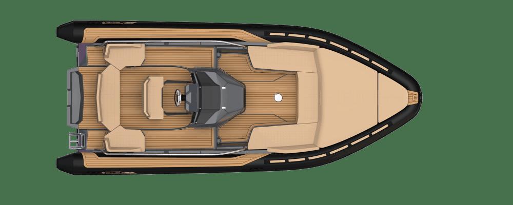 Premium waveboat ZLINE Z8 HYBRIS MEDIUM, premium tender, fun tender, annexe, annexe fun, bateau, tender yacht, annexe yacht, design, sportif, sun beds, sun bath, bains de soleil, Mercury, Evinrude, plan de pont, vue de haut