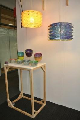 Sam Onyechi's plastic bowls and lampshades