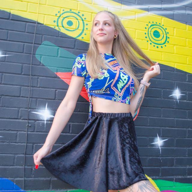 Shay Black Velvet Skirt
