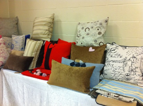"""Seams Fitting table set up for 2014 """"A Holiday Sale"""" at the Fenelon Falls Community Centre. Stay tuned for more info on 2015 Holiday event!"""