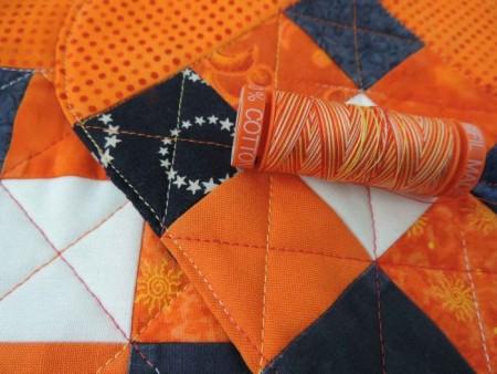blue and orange mug rugs