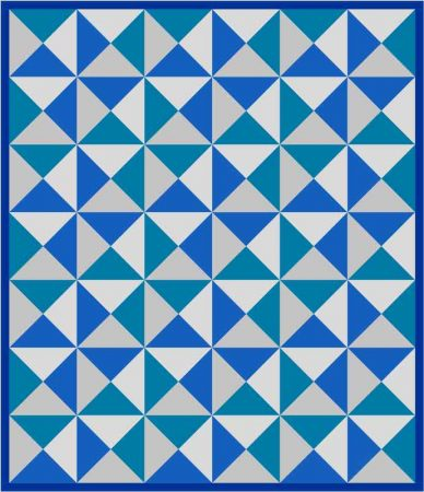 blue and grey quilt
